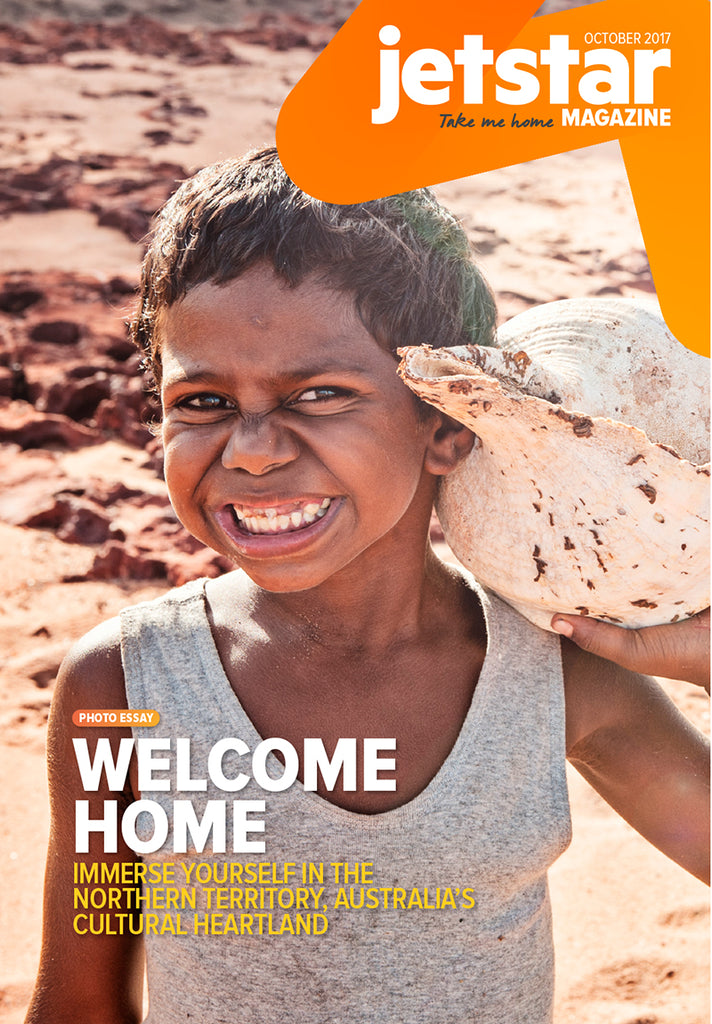 Jetstar magazine cover Yolngu boy Henry from Nyinyikay Homeland, East Arnhem Land Australia