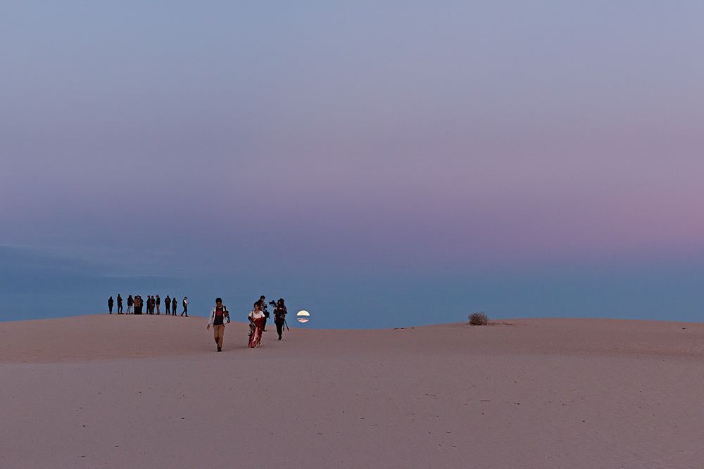 moon rises over lunette at mungo national park