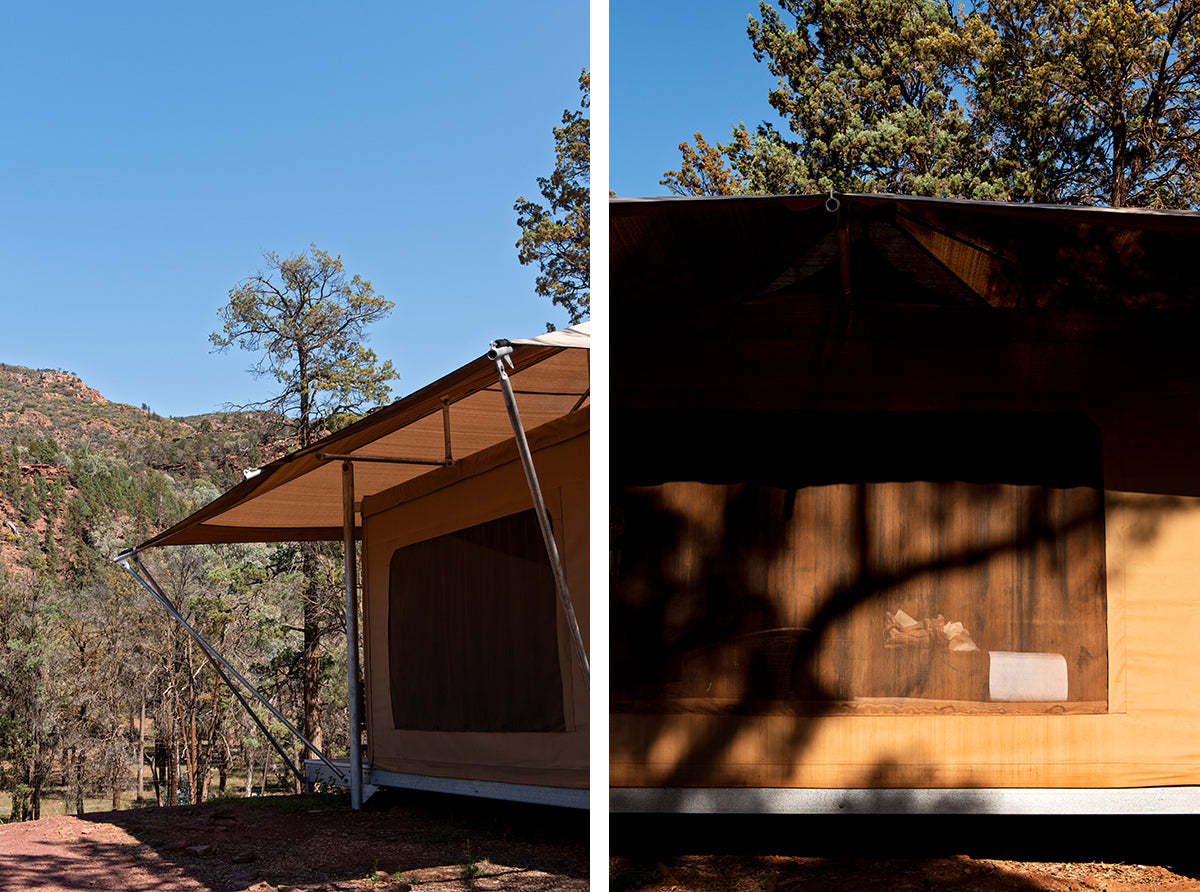 Wilpena pound safari camp tent overlooking the beauty of the flinders ranges landscape in south australia