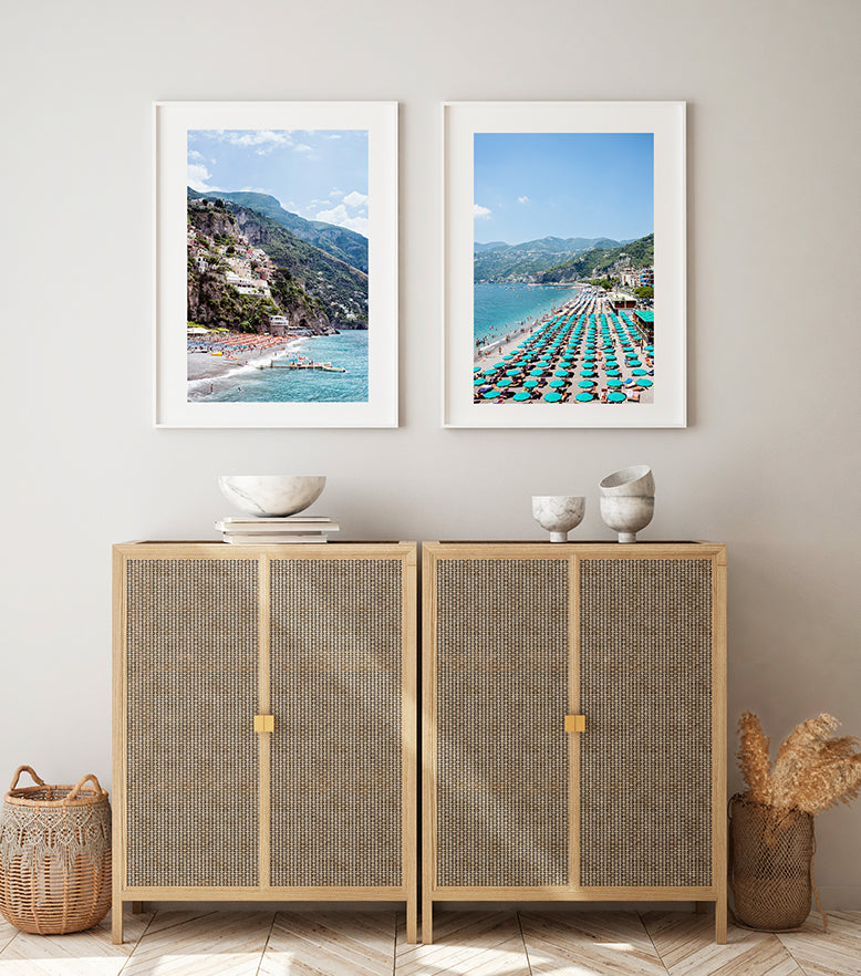 The beautiful Amalfi coast featured in a set of fine art prints, featuring the Spaggia Grande beach in Positano and the Amalfi Beach in summer