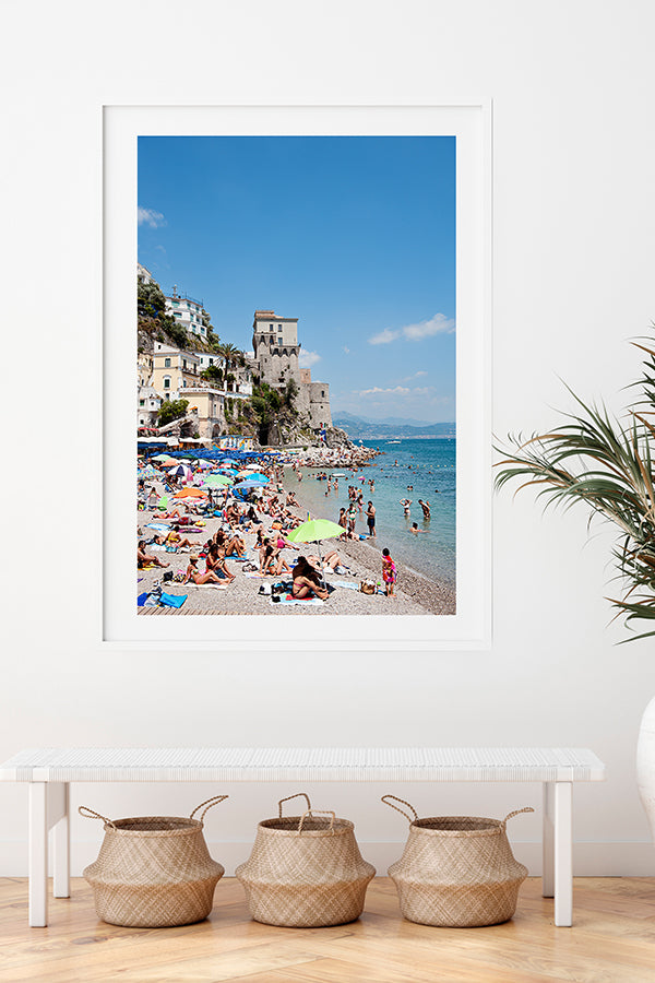 Amalfi coast photographic wall art print of Cetara beach on the Amalfi Coast with beach umbrellas and beachgoers available in small to extra large wall decor sizes