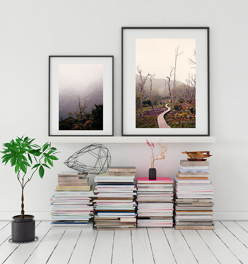 Cradle Mountain prints featuring the beauty of the Tasmanian wilderness of Cradle Mountain National Park, with its bushland, snow capped mountains and button grass plains by photographer Millie Brown