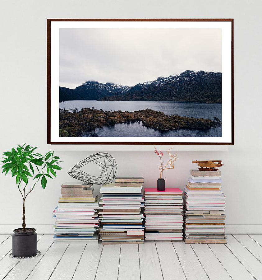Cradle Mountain Dove Lake in winter with the snowcapped Cradle Mountain in the background from the Into The Wild wall art collection by photographer Millie Brown