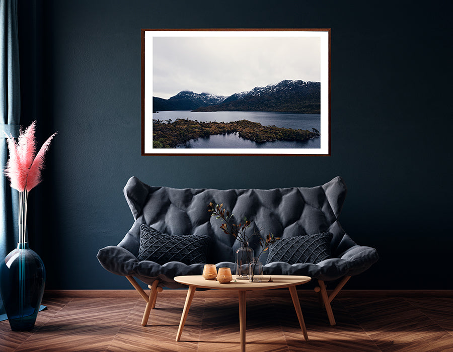 Cradle Mountain Dove Lake photographic wall art featuring Cradle Mountain National Park in winter with the snowcapped Cradle Mountain in the background from the Into The Wild wall art collection by photographer Millie Brown