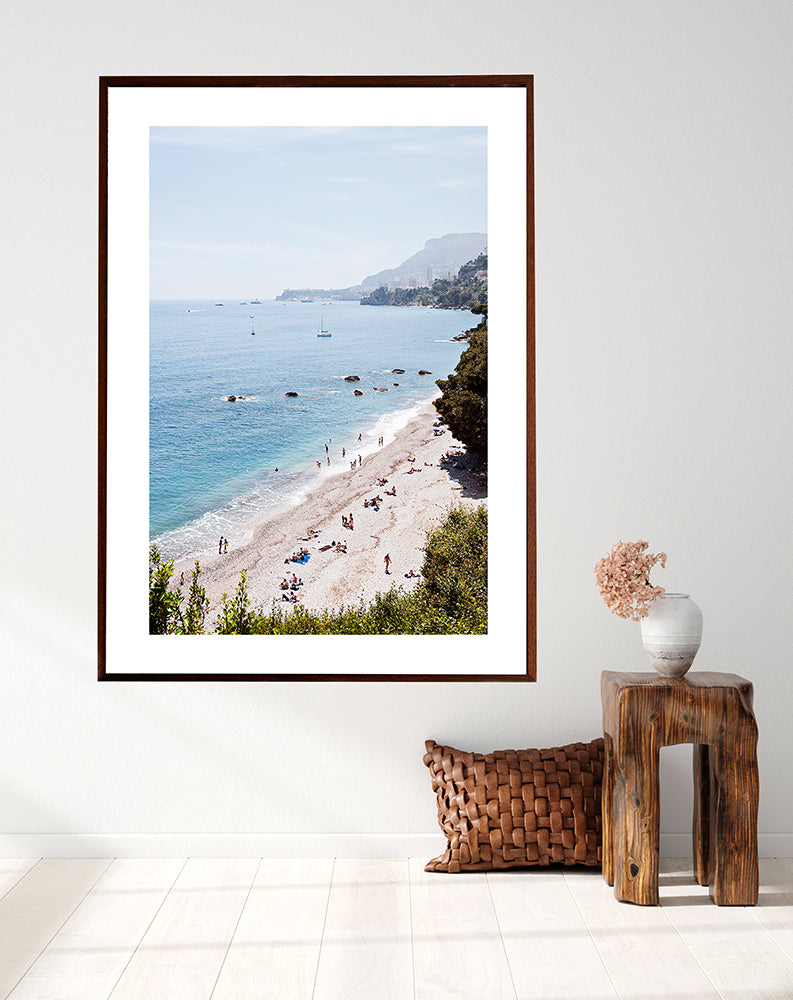 French Riviera Wall Art Print featuring Plage du Buse shot from above and Monaco in the distance by Millie Brown
