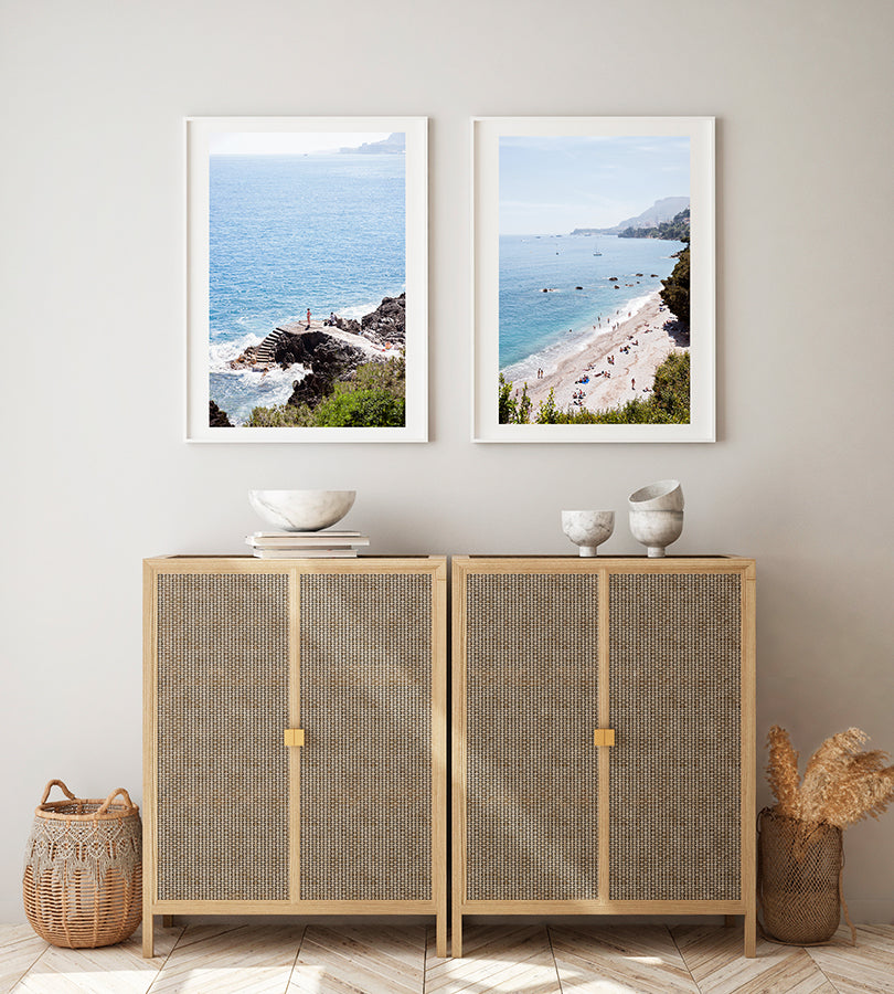 Two beautiful French Riviera fine art prints featuring the blue sea, rocky outcrops and beach on a summer day by Millie Brown