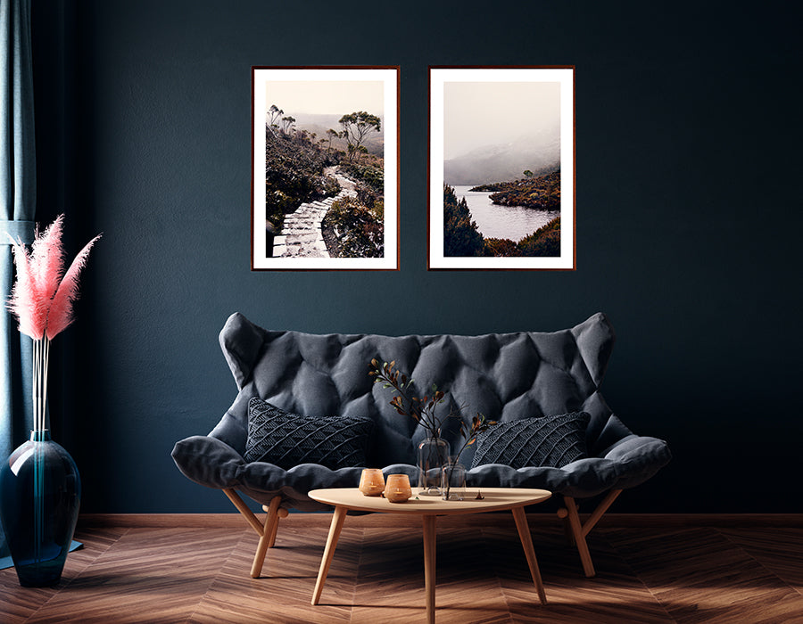 Cradle mountain photographic prints featuring Cradle Mountain Tasmanian wilderness in the winter snow and surrounding bushland and boardwalk winding its way down the mountain  by Millie Brown photographer