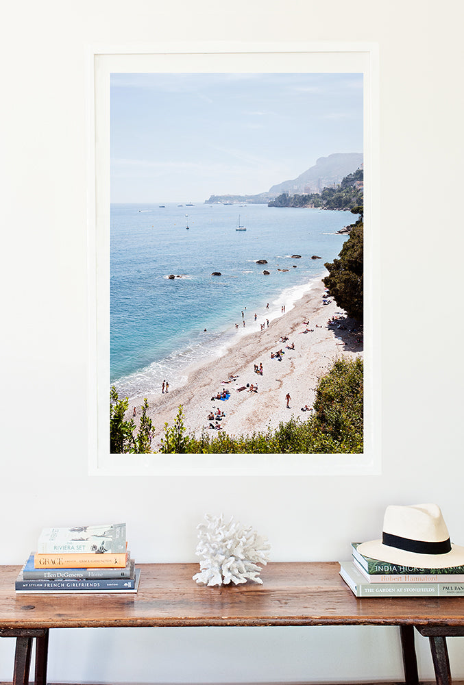 French Riviera Photographic Print featuring Plage du Buse shot from above and Monaco in the distance by Millie Brown