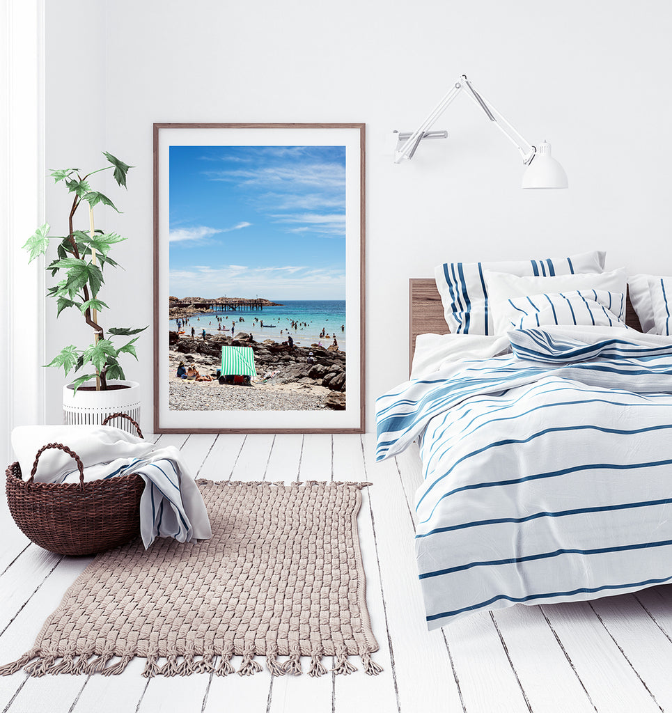 Framed wall art Australia, a photographic print featuring South Australia and its Second Valley beach on a summer day, part of the Salty Days Collection and available in small to extra large wall art prints