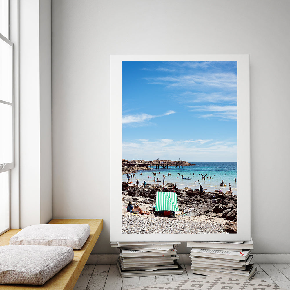 Framed wall art Australia, a photographic print featuring South Australia and its Second Valley beach on a summer day, part of the Salty Days Collection of Millie Brown prints and available in small to extra large wall art prints