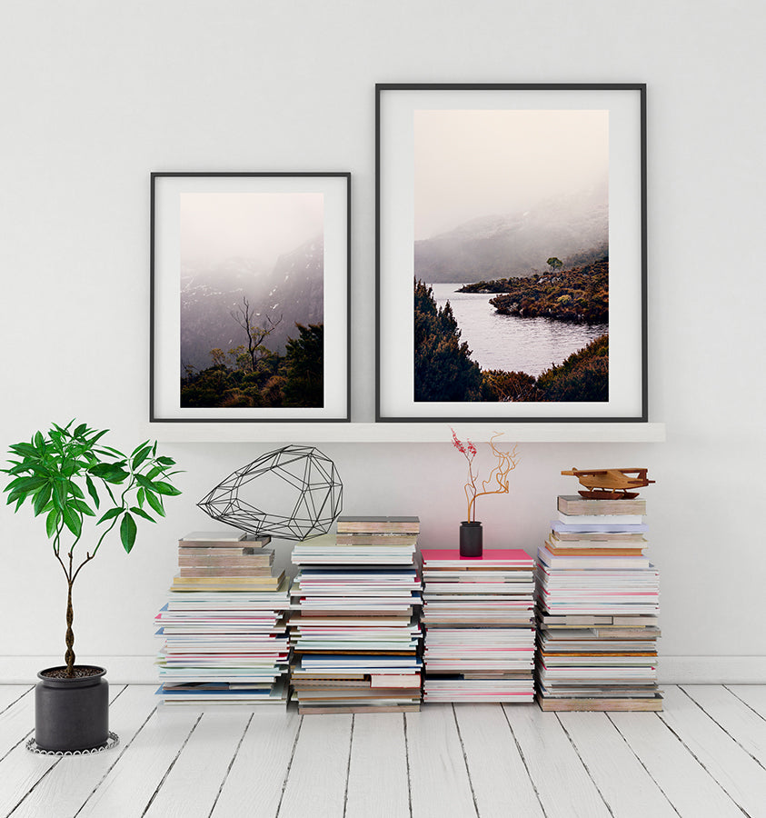 Cradle Mountain wall art print featuring Dove Lake in the Cradle Mountain National park Tasmania surrounded by bushland and low winter cloud shot by Millie Brown