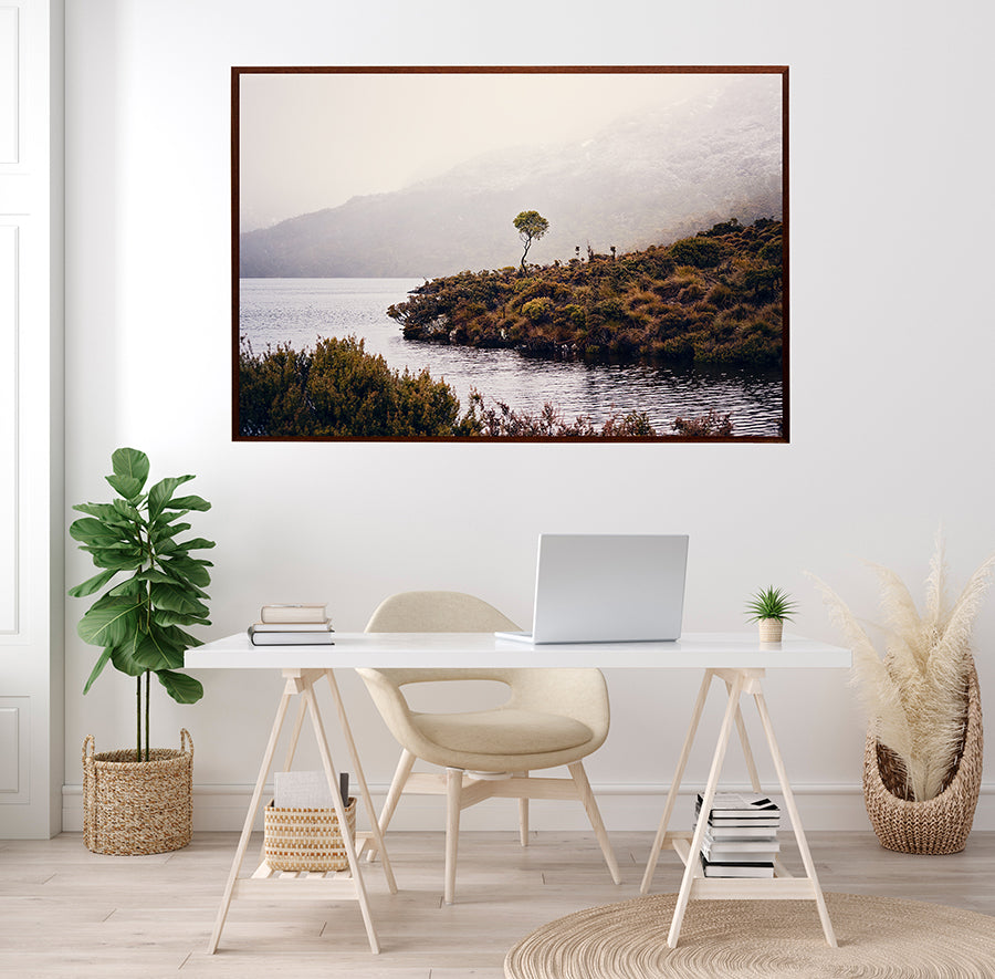 Cradle Mountain Fine art print of beautiful Dove Lake in Cradle Mountain National Park Tasmania in winter, with low cloud shrouding the mountains behind. By photographer Millie Brown