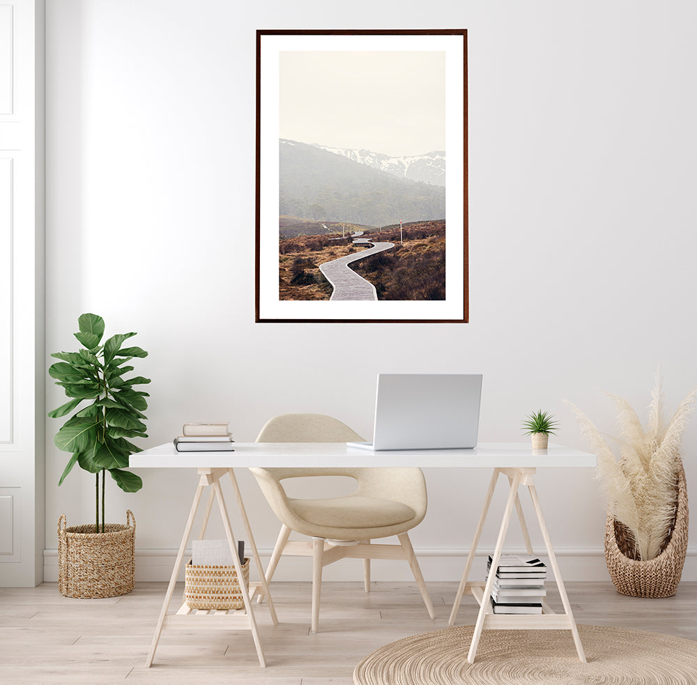 Cradle Mountain Photographic fine art prints featuring the beautiful wilderness of Cradle Valley in Cradle Mountain National Park Tasmania and its boardwalk meandering through the button grass plains with the snowy mountains in the background by photographer Millie Brown