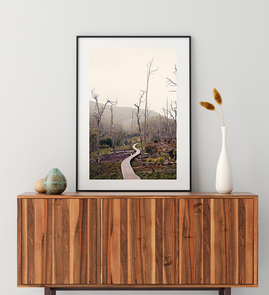Cradle Mountain Wilderness wall art decor featuring Cradle Mountain National park and Cradle Valley in the winter by photographer Millie Brown