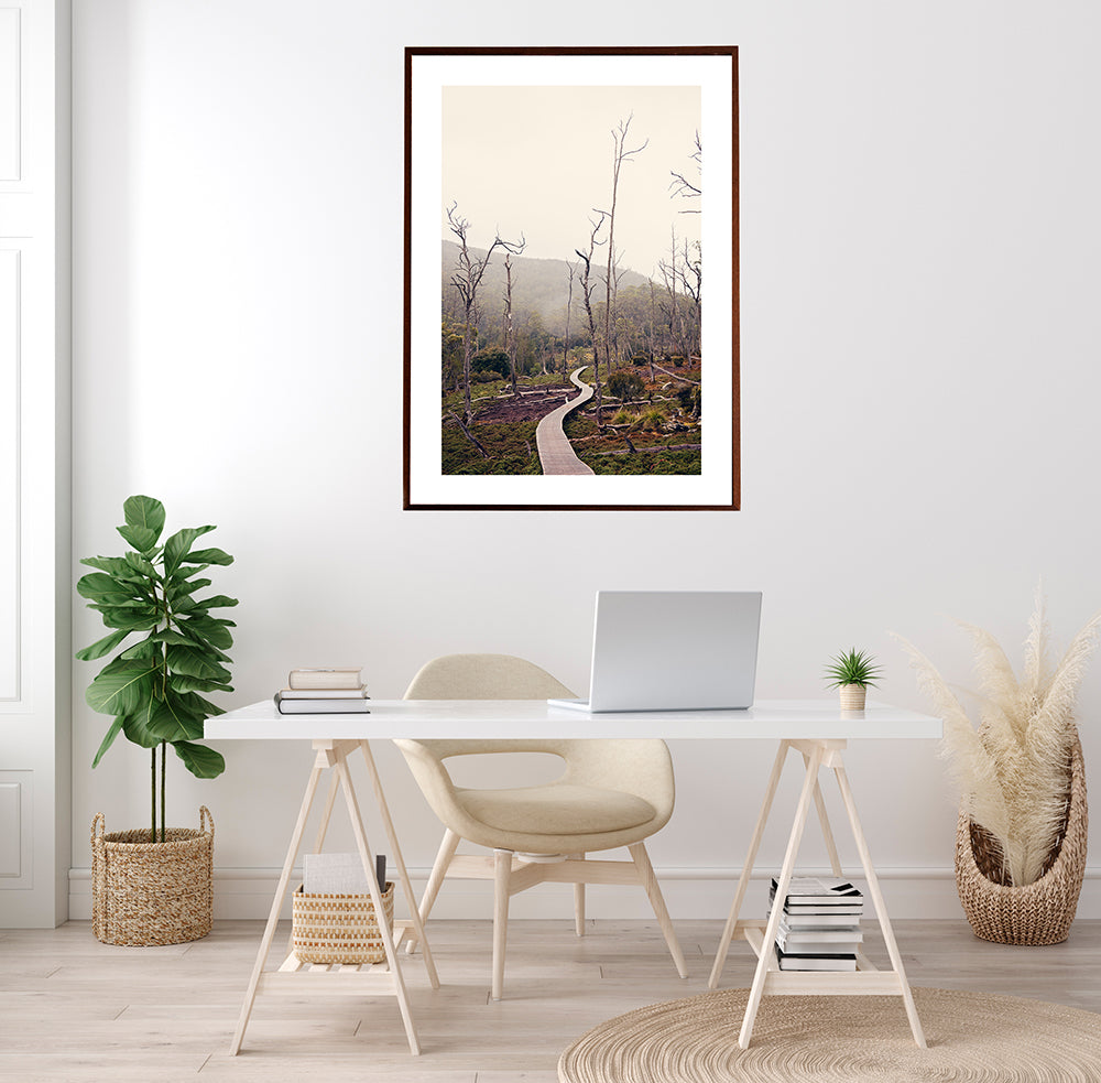 Cradle Mountain wall art prints featuring Cradle Mountain National park and Cradle Valley in the winter by photographer Millie Brown