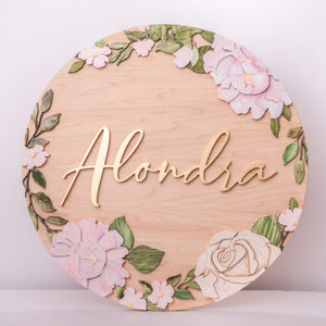 "Floral Ring Extra FEE 23"" Name Sign"