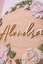 "Load image into Gallery viewer, Floral Ring Extra FEE 23"" Name Sign"