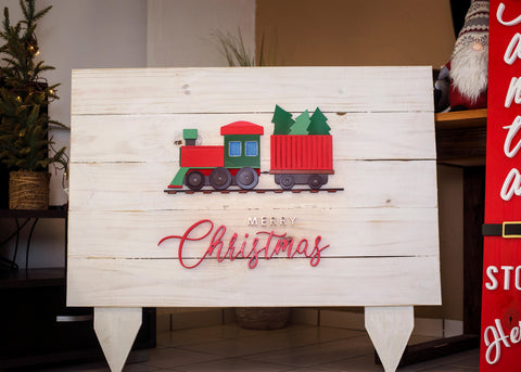 Merry Christmas Train Sign