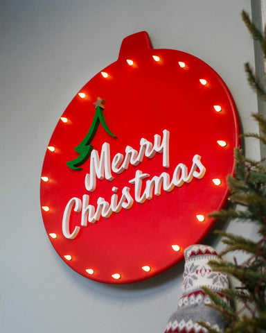 Merry Christmas Light Bulb Sign