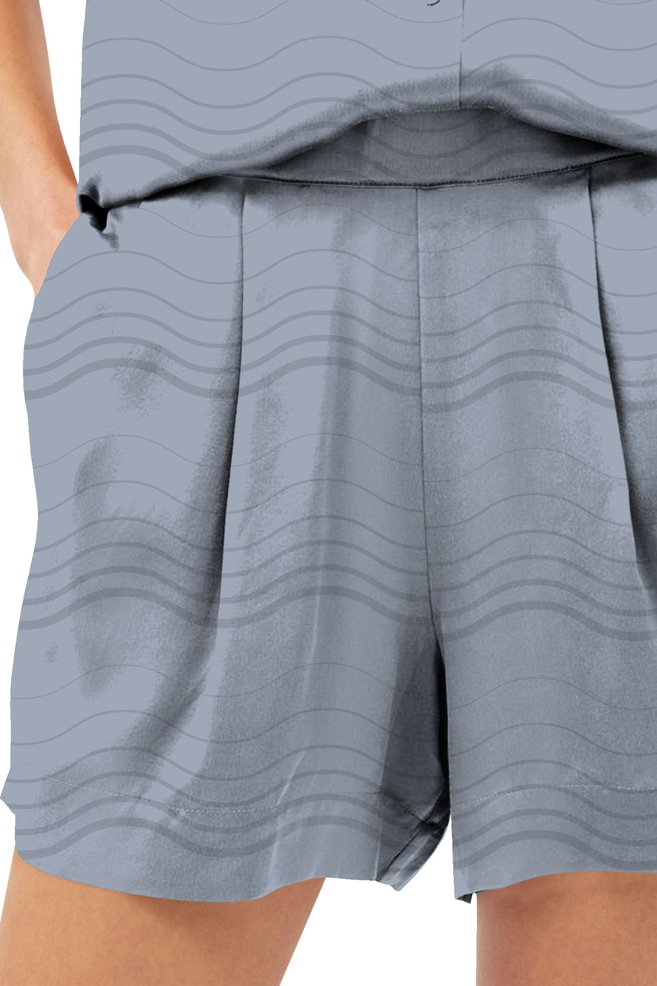 Made With Cupro Biodegradable Fabrics Silk Shorts In Grey