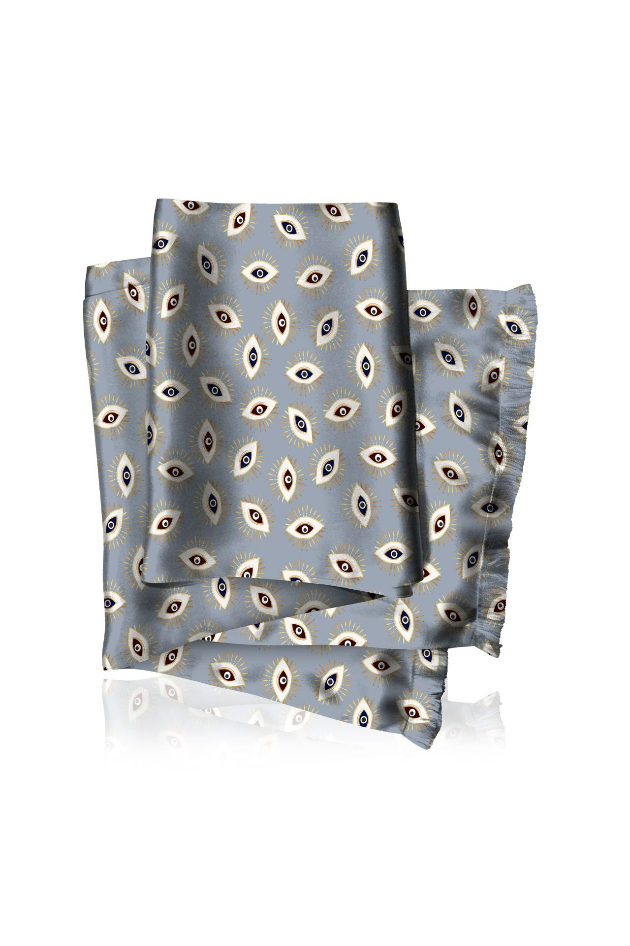 Made with sustainable Silk Cupro Scarves in Evil Eye Grey