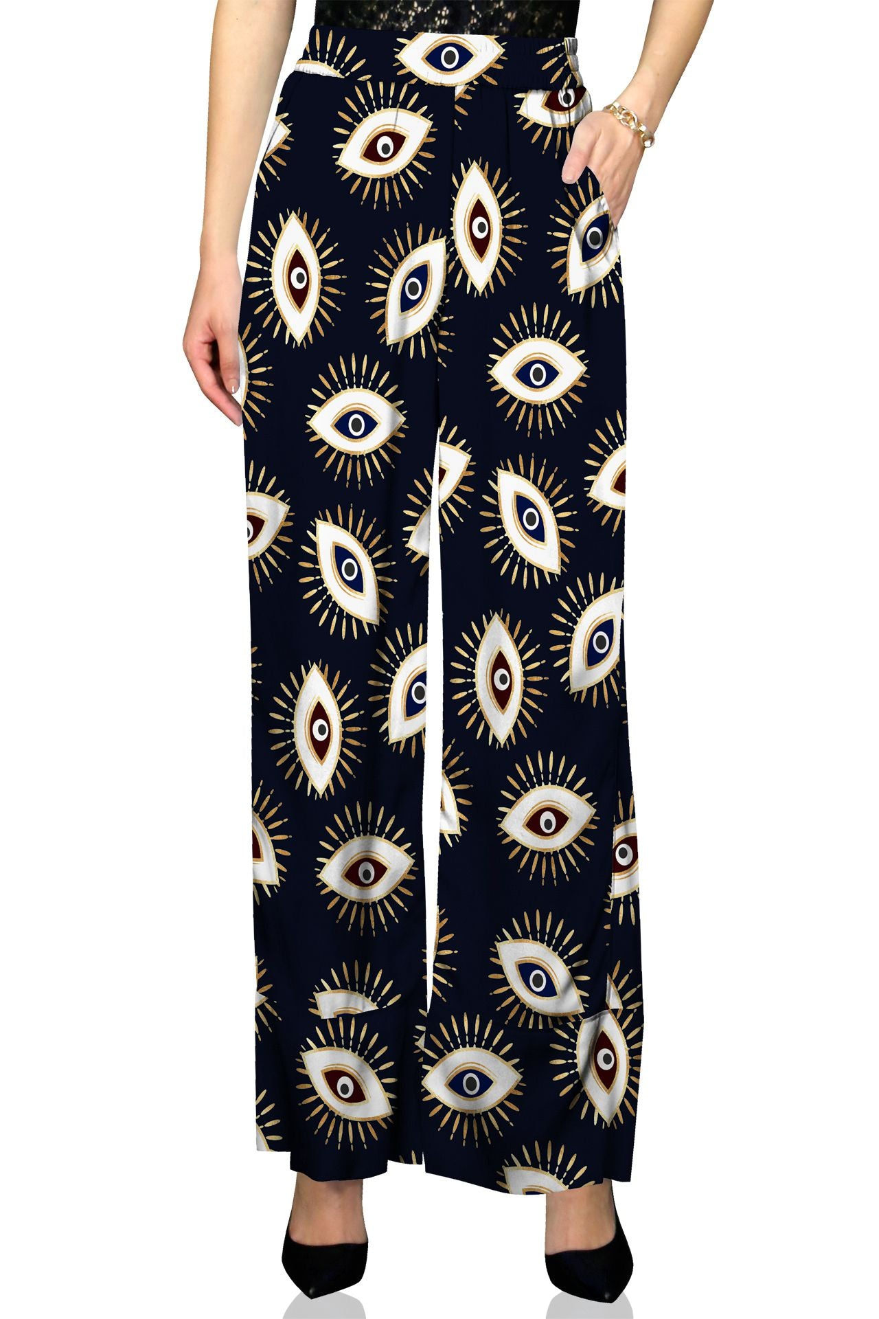 Evil Eye Black Designer Pants made with Biodegradable Fabrics