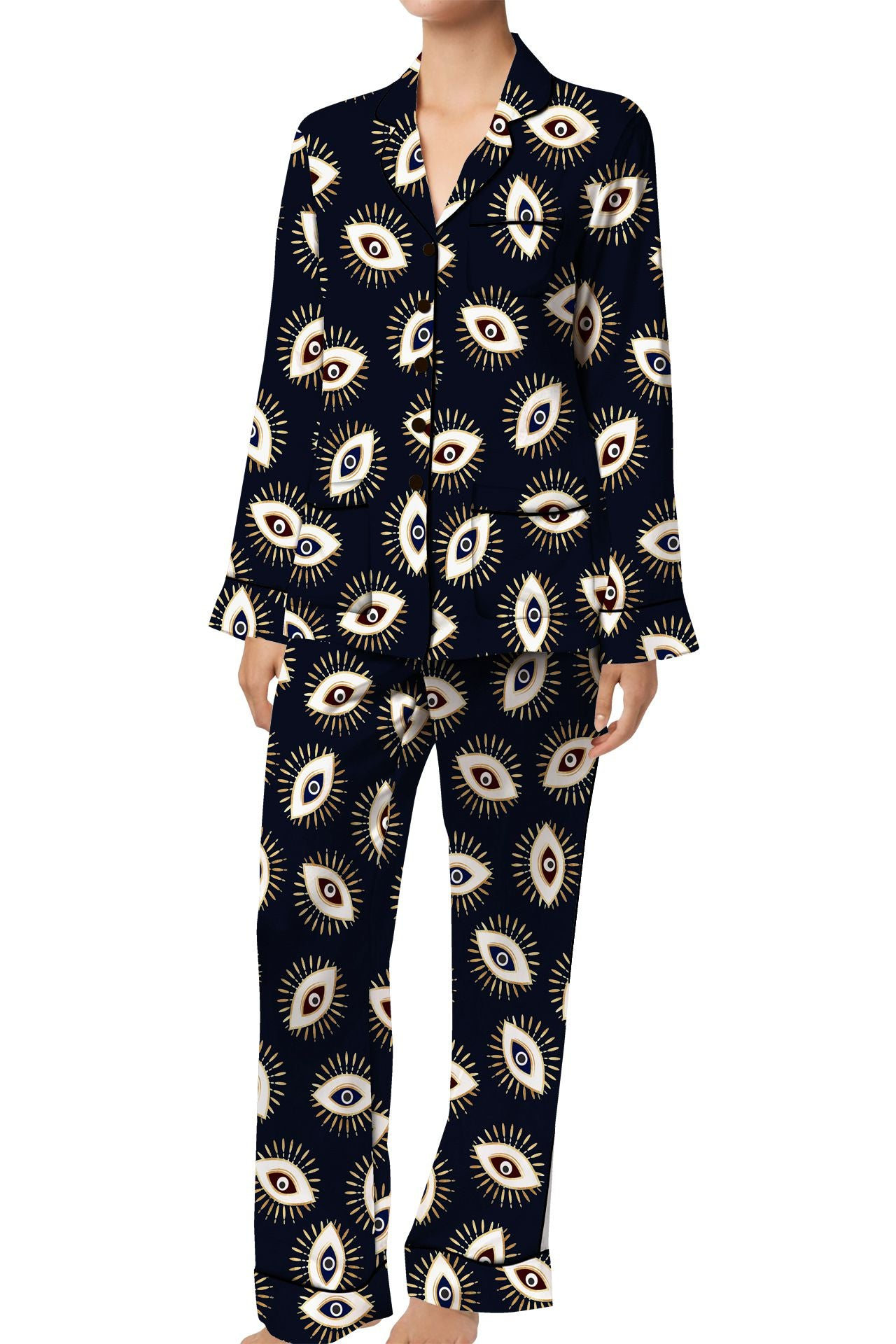 Made with Cupro vegan silk satin Full Sleeve Pajama Set in Evil Eye Black