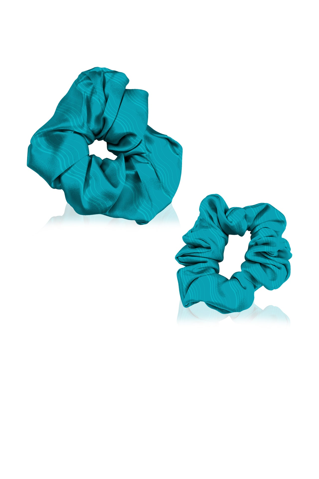 Made With Sustainable Vegan Silk  Scrunchies in Aqua