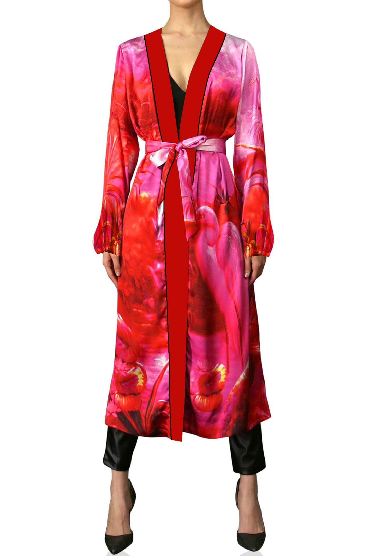 Belted Robe Dress In Fuchsia Print