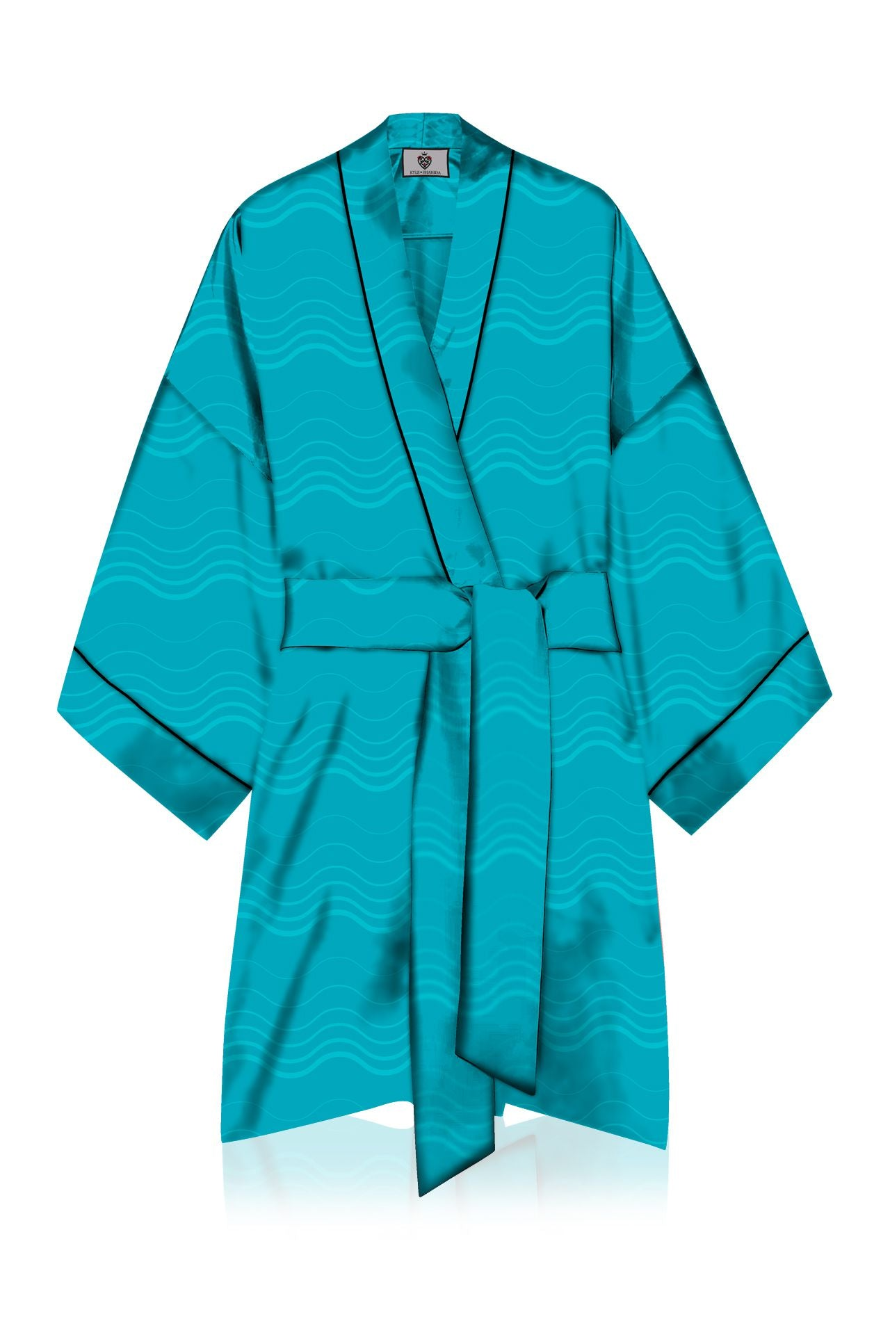 Short Length Kimono Aqua Robe Made With Cupro Vegan Silk