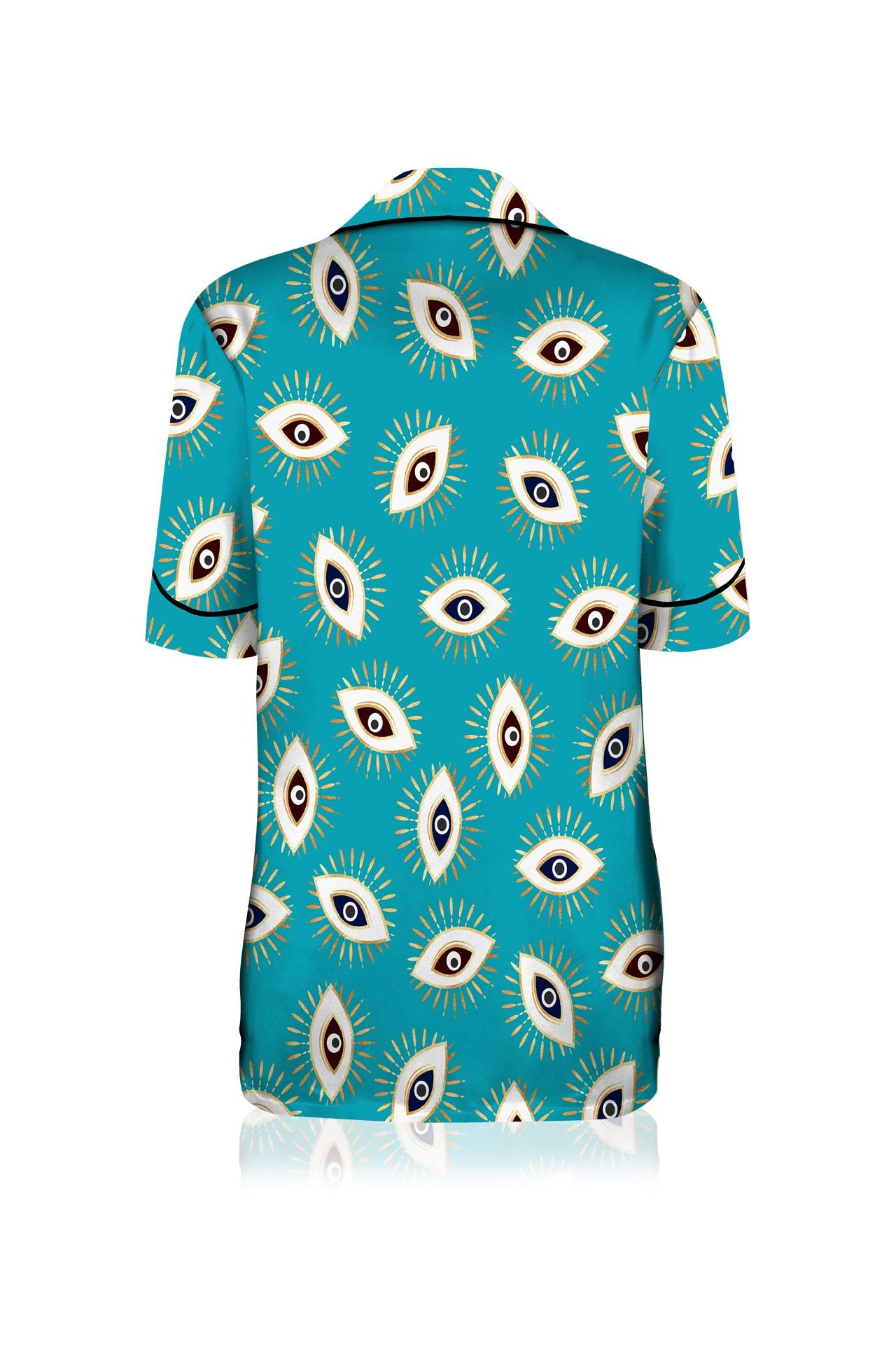 Half Sleeve Silk Satin Pyjama Shirt with Piping Details in Evil  Eye Print
