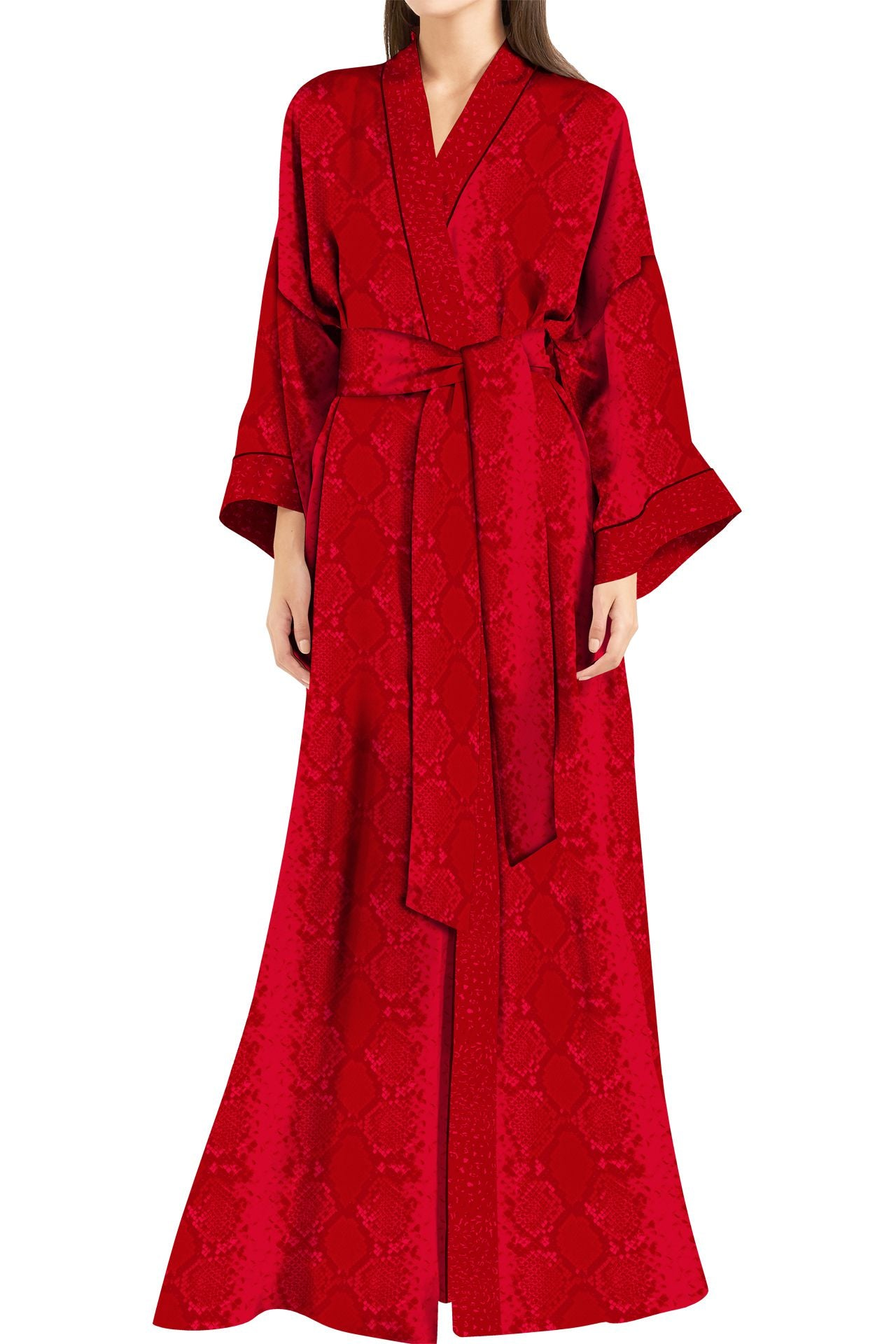 Made with Cupro Long Kimono Robe Dress in Blood Stone