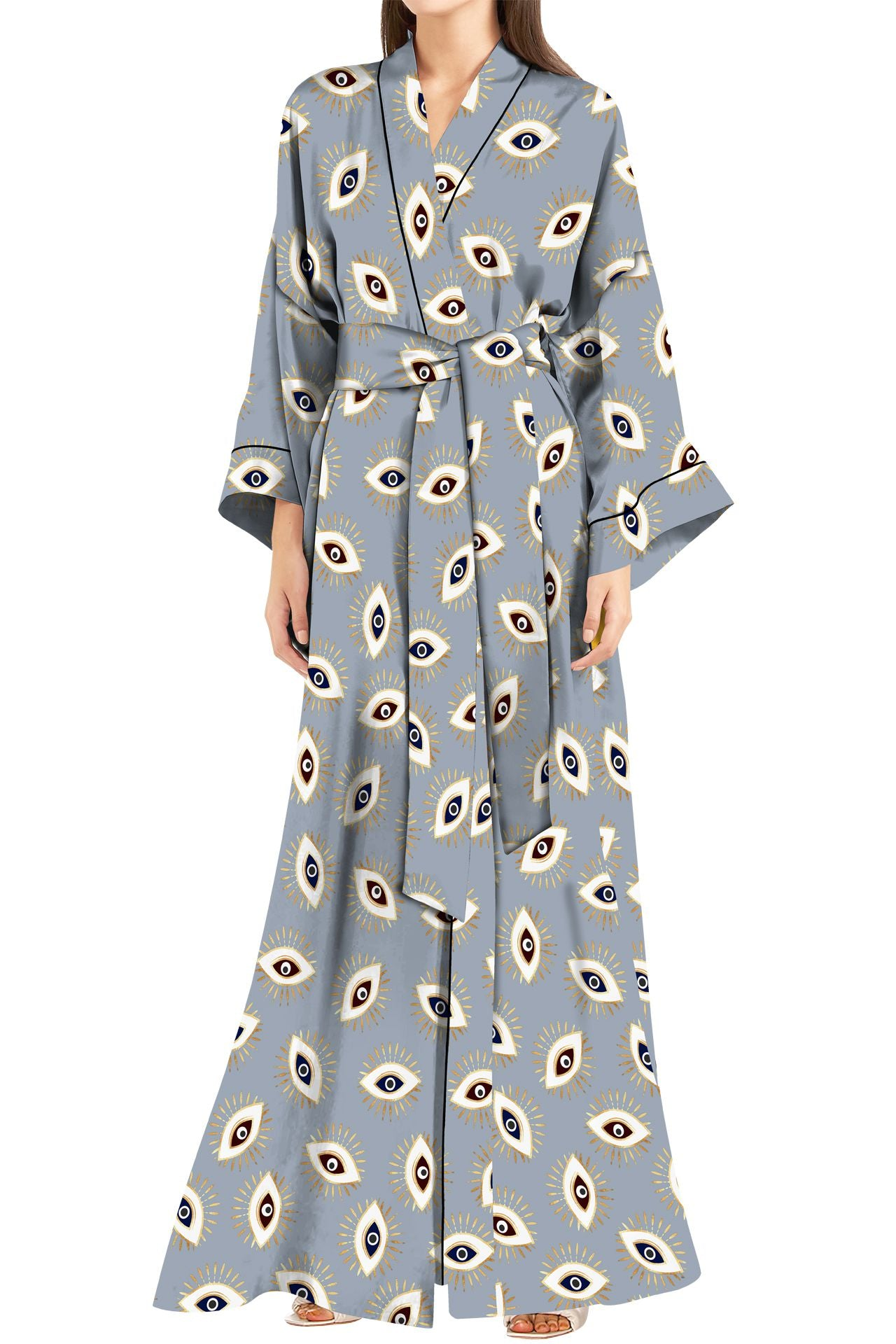 Made With Sustainable Vegan Silk Cupro Full Length Kimono Robe