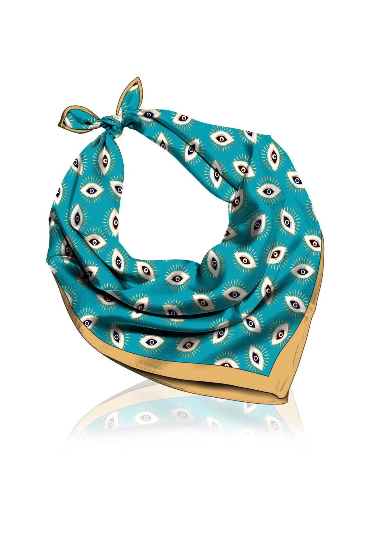 Made With Cupro Fabrics Scarves In Evil Eye Aqua