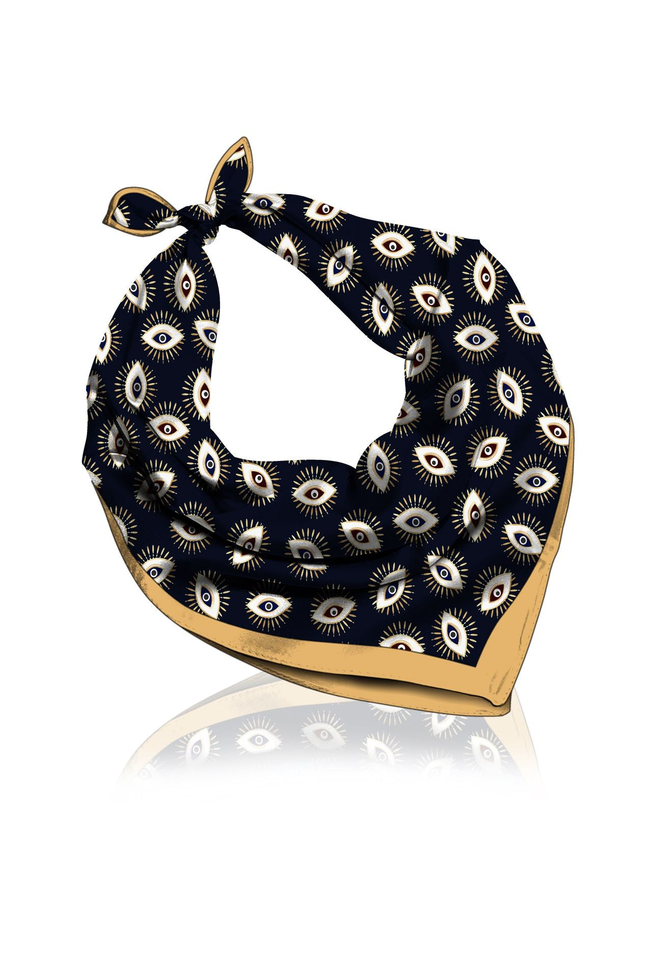 Evil Eye Black Scarves Made With Cupro Vegan Silk