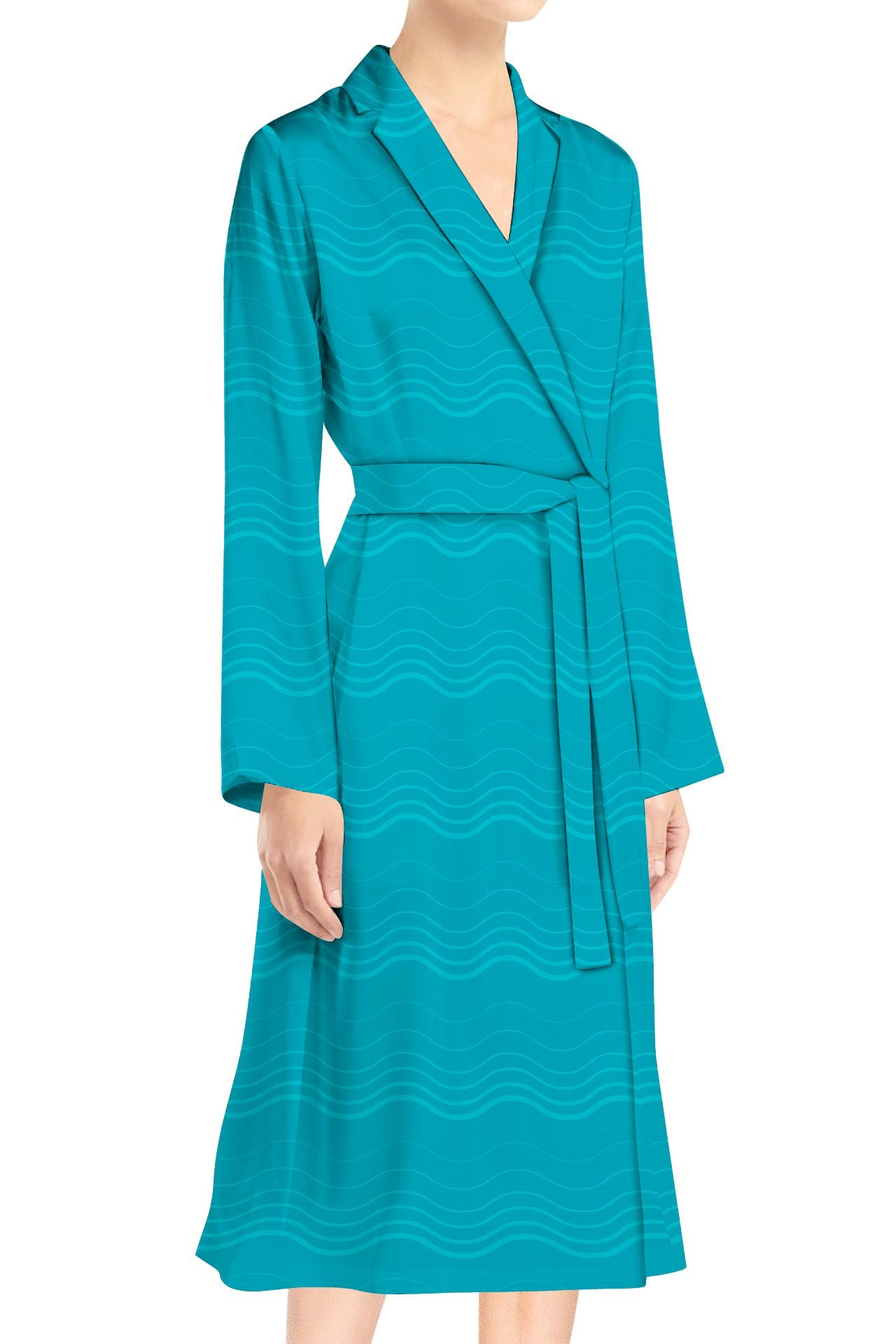 Silk Satin Wrap Midi Top  in Solid Aqua