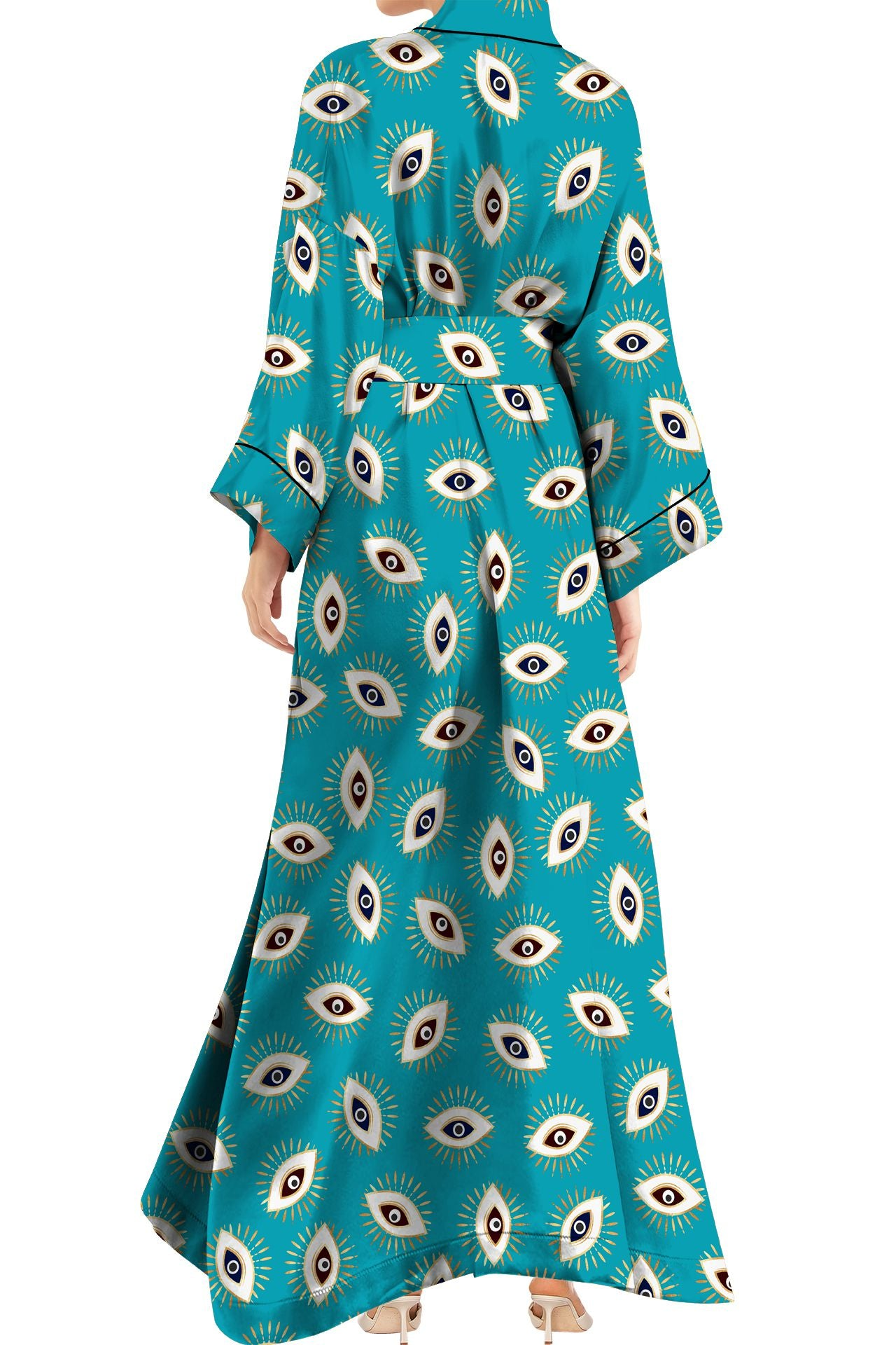 Made with Vegan Silk Long Kimono Robe Dress in Evil Eye Aqua