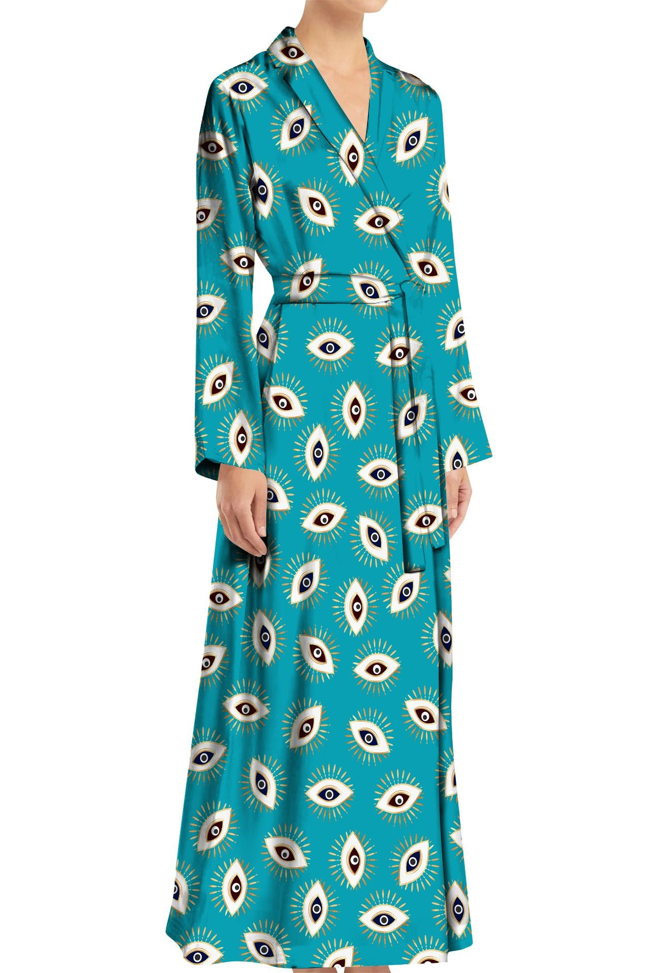 Full Length Wrap Dress in Evil Eye made with Cupro