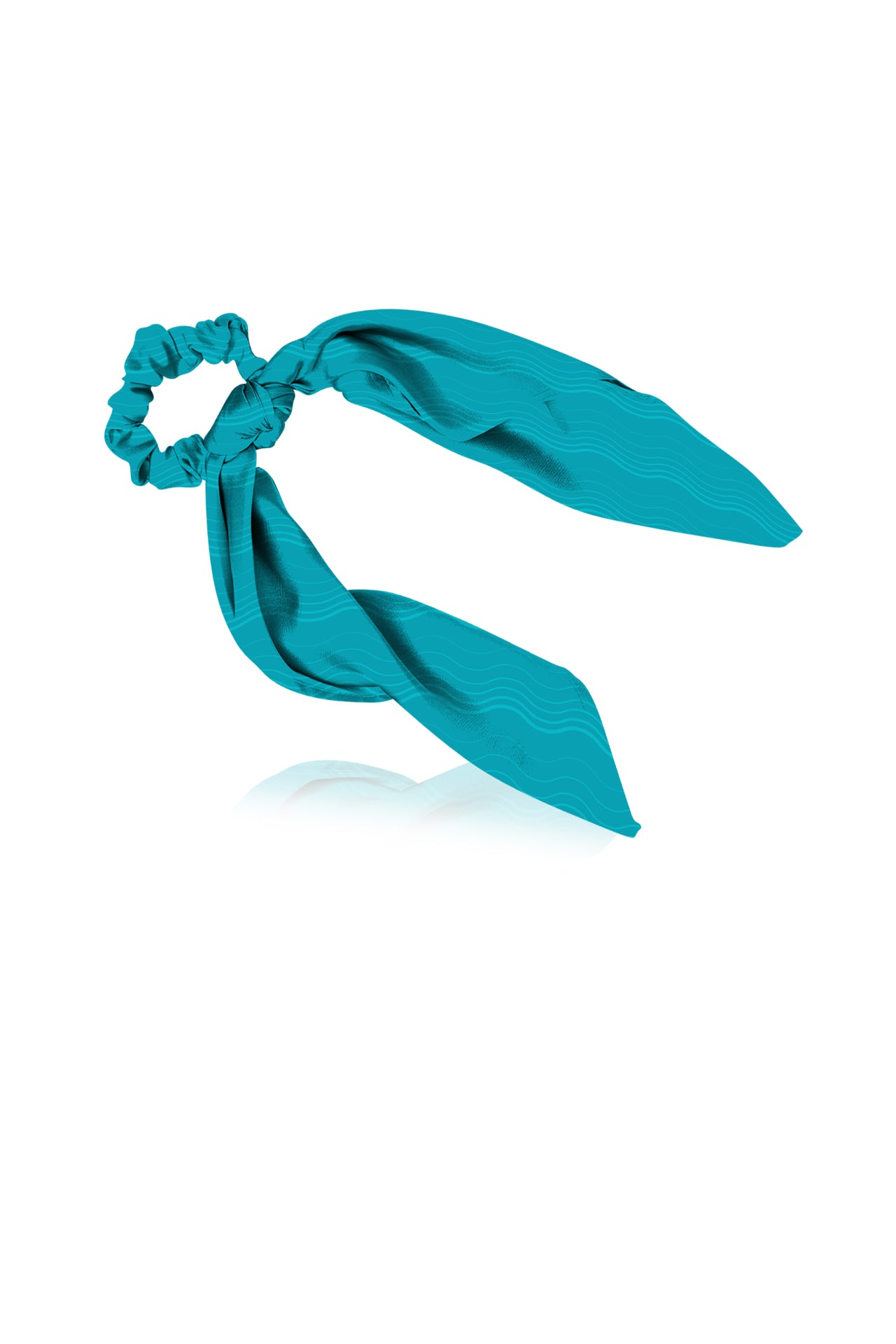 Made With Cupro Vegan Silk Scarf  Scrunchies in Aqua
