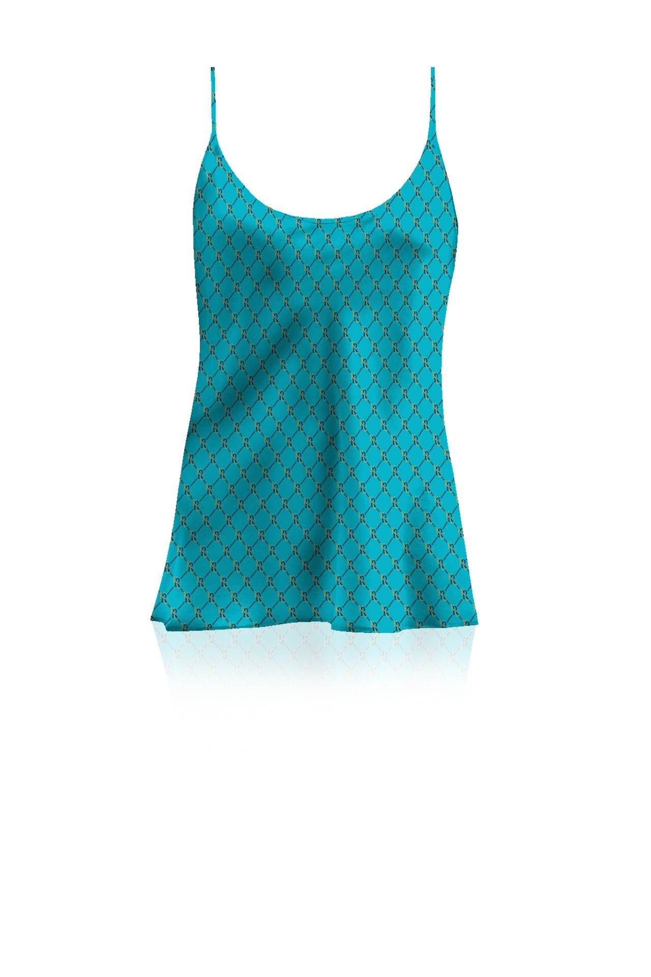 Silk Satin Cami Top  in  Solid Aqua