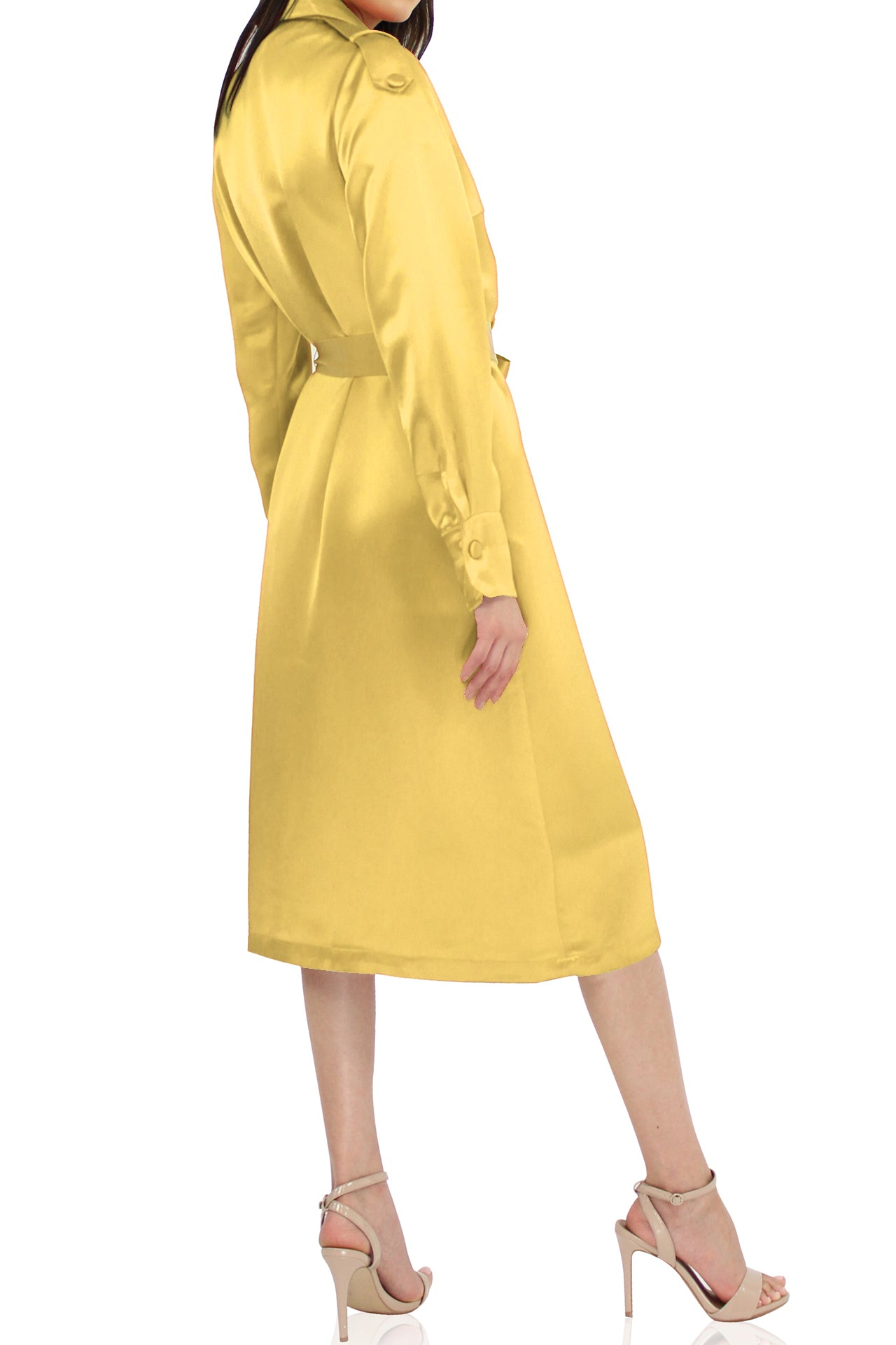 Women Belted Satin Trench Coat In Yellow