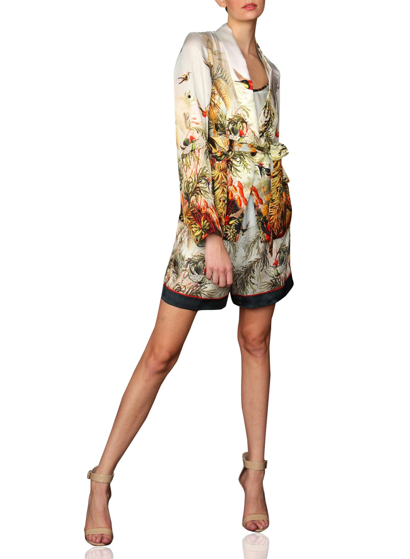 Short Silk Jacket In Nature Prints