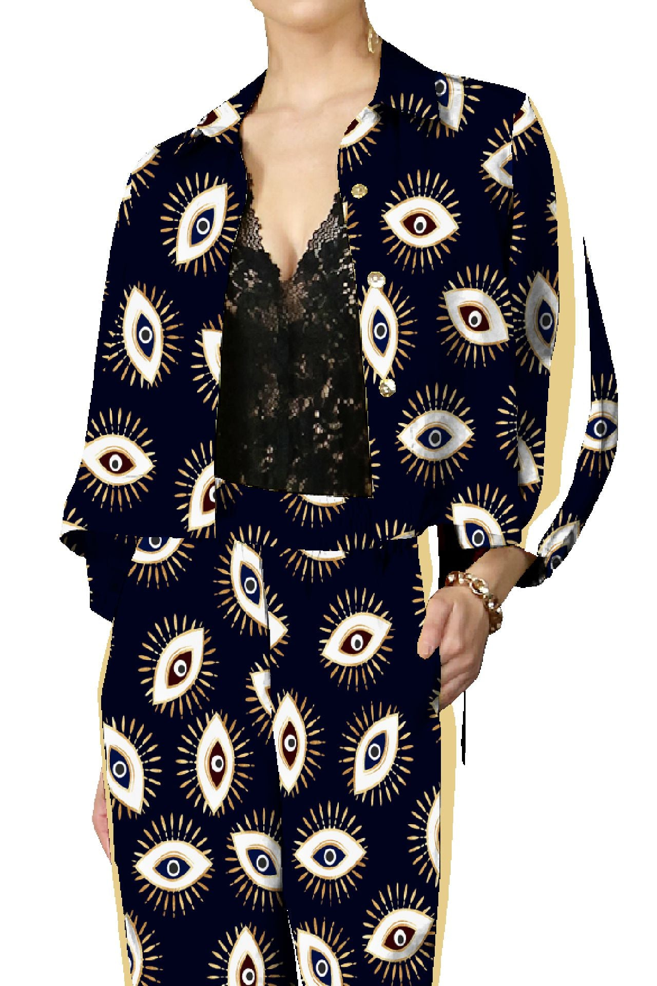Evil Eye Black Stripe Suit Set