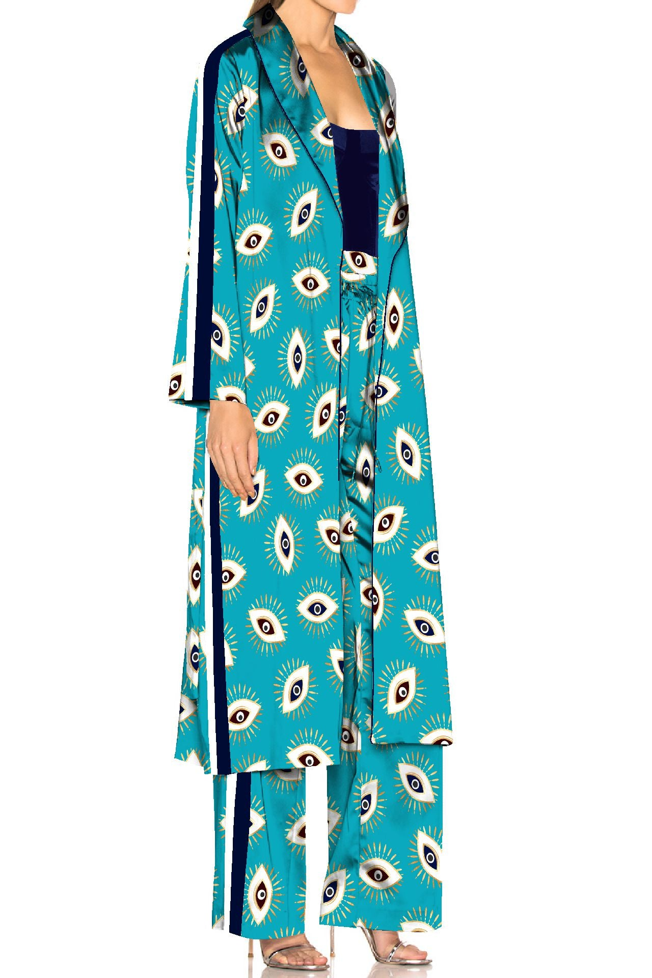 Evil Eye Aqua Matching Suit Set in Biodegradable Fabrics