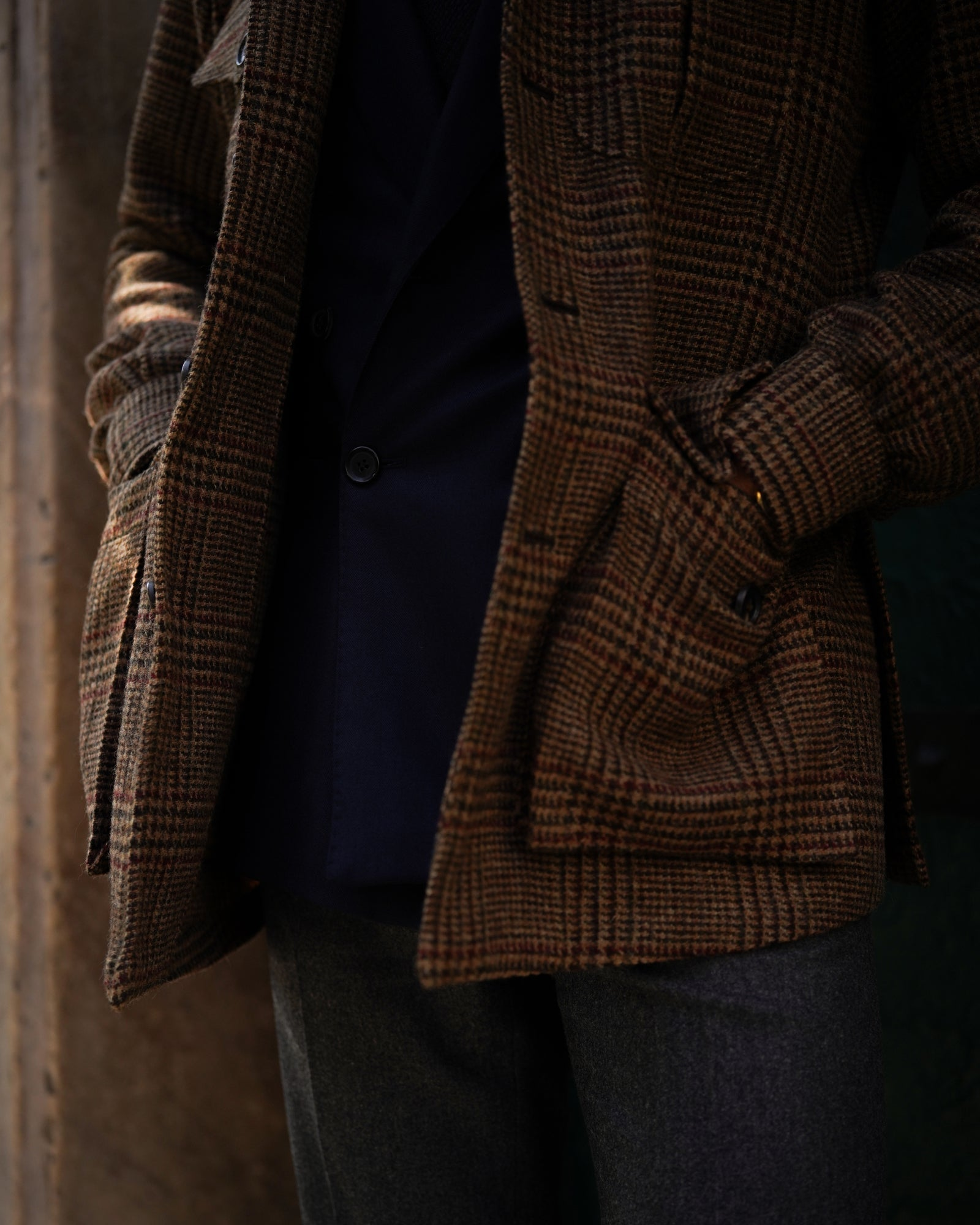 Safari jacket in brown Prince of Wales tweed