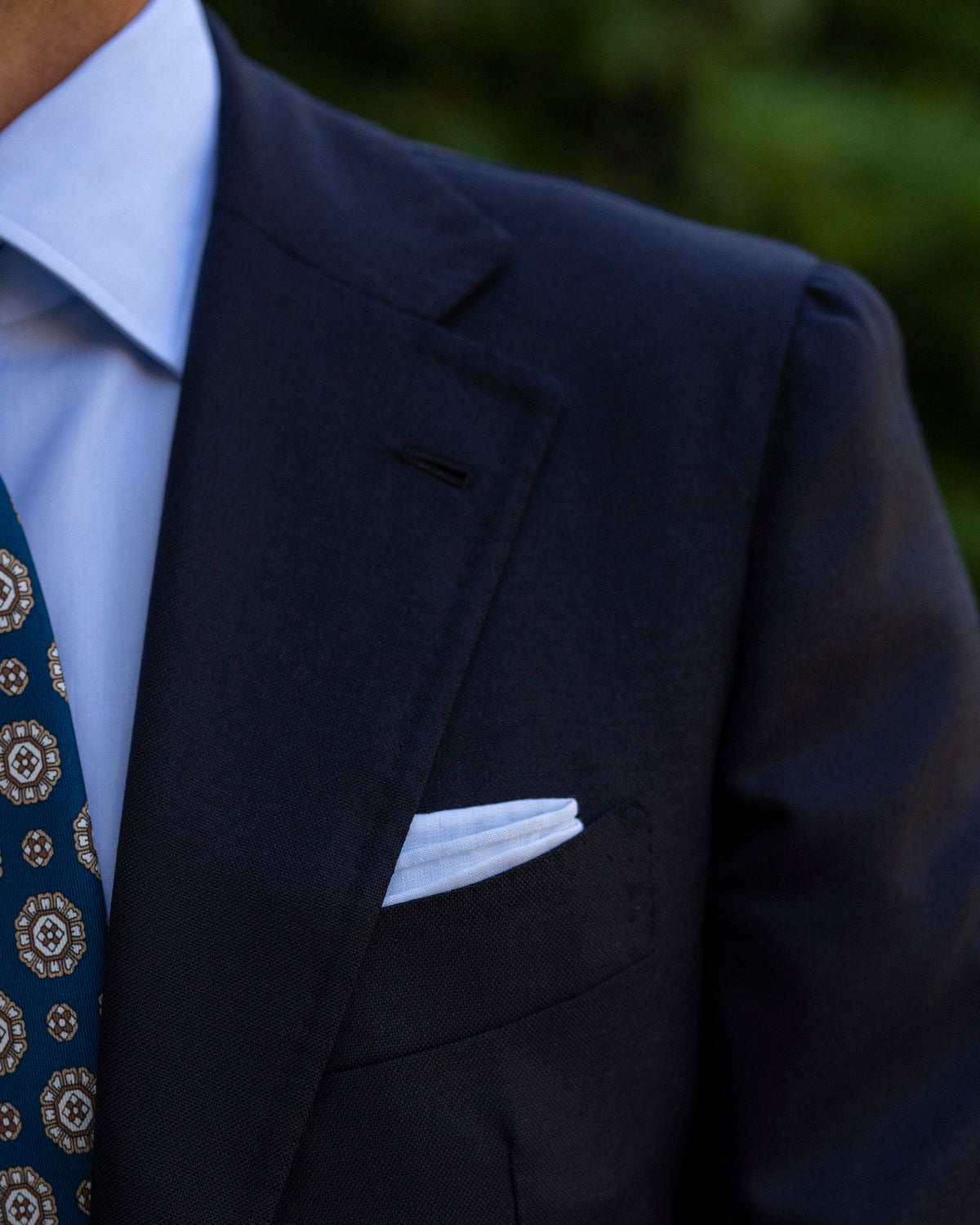 Hand rolled linen pocket square