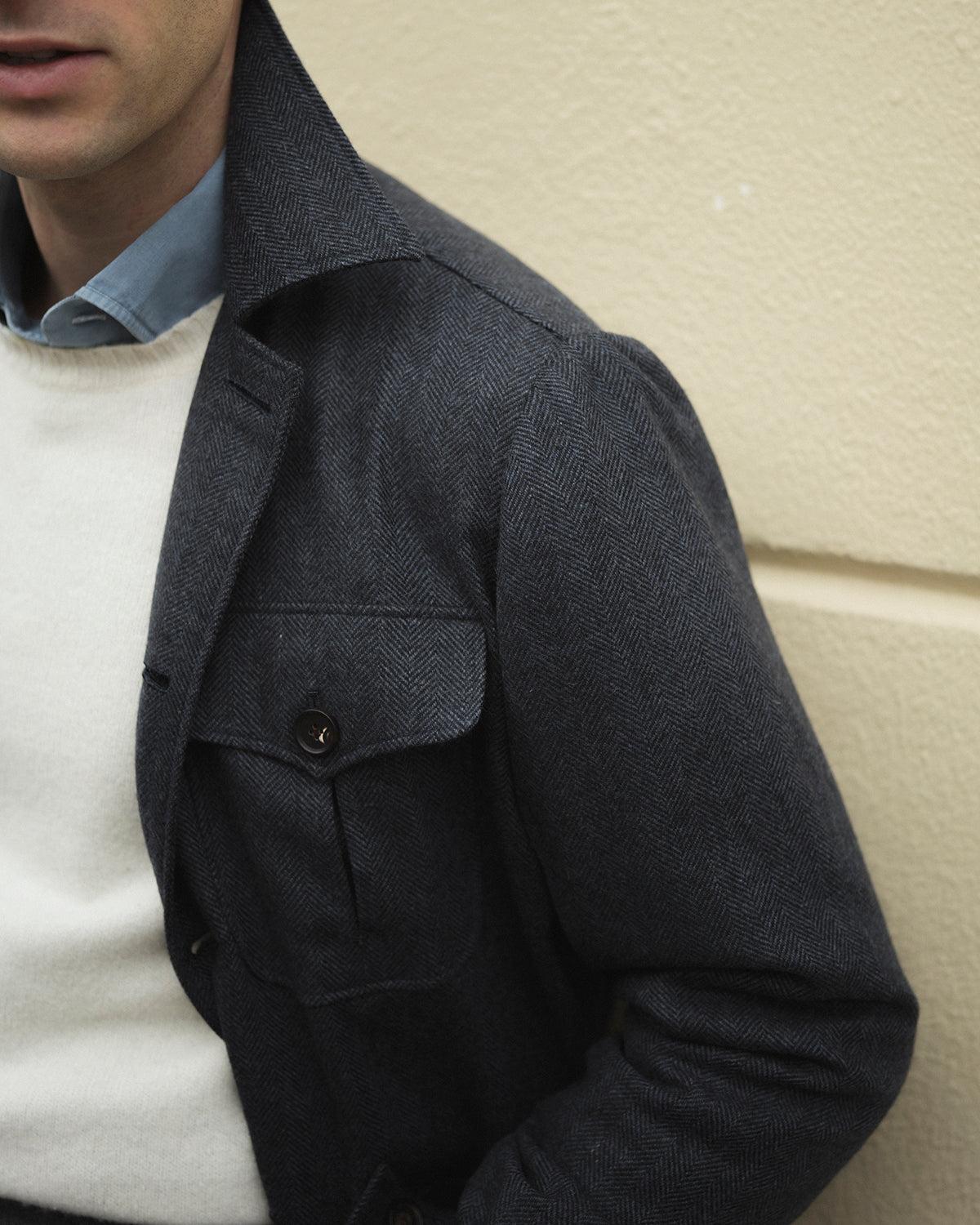 Safari Jacket in navy herringbone