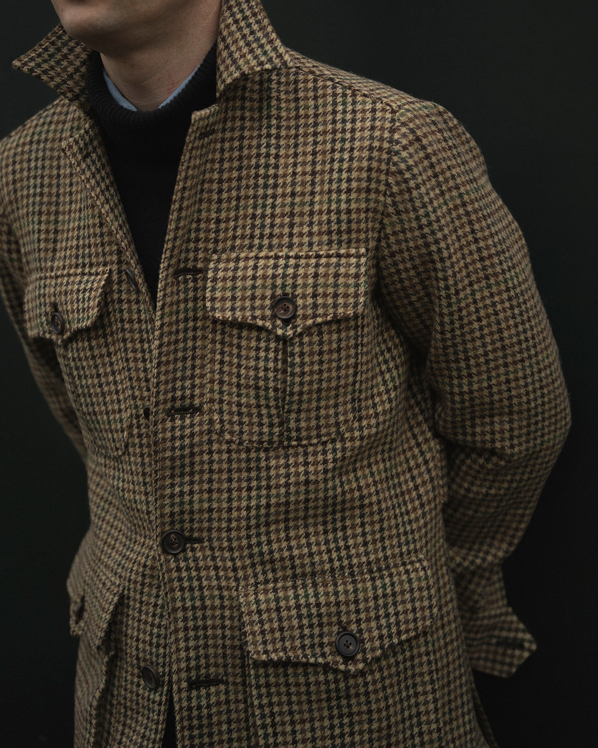 Safari Jacket in brown Gunclub tweed