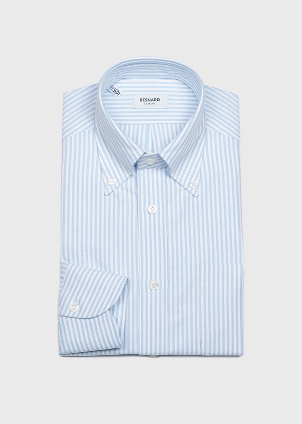 Blue University Stripe Oxford Cloth Button Down Shirt