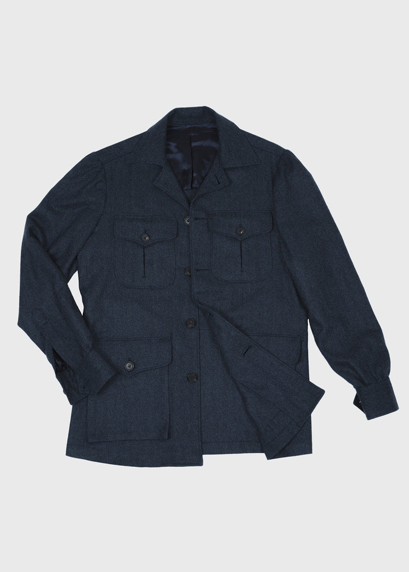 Safari Jacket Navy Herringbone